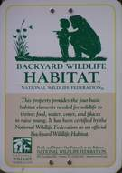 NWF - Backyard Wildlife Habitat sign.