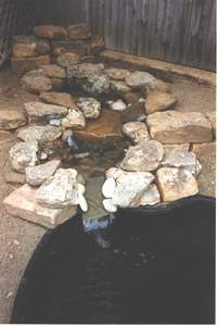 Waterfall ponds in place